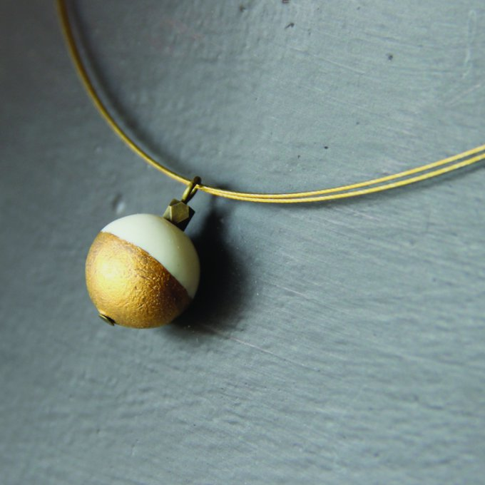 Collier boule blanc & Or
